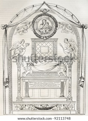 James of Coimbra tomb in San Miniato basilica, Florence. By unidentified author after sculpture of Rossellino, published on Magasin Pittoresque, Paris, 1845 - stock photo