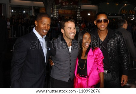 "Jamie Foxx and Jeremy Piven with Jada Pinkett Smith and Will Smith at the World Premiere of ""The Kingdom"". Mann Village Westwood, Westwood, CA. 09-17-07 - stock photo"