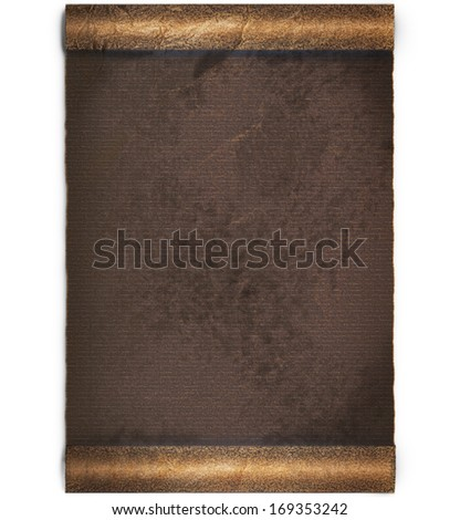 Jammed dark brown old worn roll of parchment or paper  background with ragged edge that was became weary highlighted by sun or day light, clipping path included - stock photo