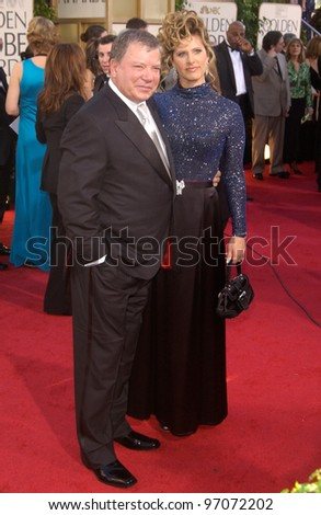 Jan 16, 2005; Beverly Hills, CA: Actor WILLIAM SHATNER & wife at the 62nd Annual Golden Globe Awards at the Beverly Hilton Hotel. - stock photo