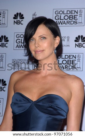 Jan 16, 2005; Los Angeles, CA: CHARLIZE THERON at the 62nd Annual Golden Globe Awards at the beverly Hilton Hotel. - stock photo