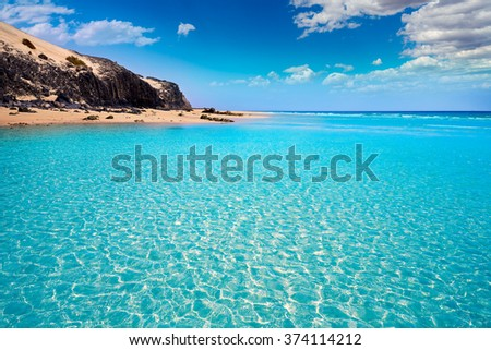 Jandia beach Mal Nombre Fuerteventura at Canary Islands of Spain - stock photo