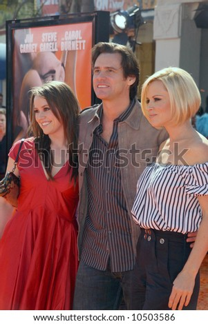 Jane Carrey, Jenny McCarthy and Jim Carrey  at the World Premiere of Dr. Seuss Horton  Hears a Who' held at the Mann Village Westwood. - stock photo