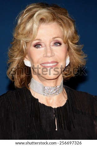 Jane Fonda at the LACMA 2013 Art + Film Gala Honoring Martin Scorsese And David Hockney held at the LACMA in Los Angeles on November 2, 2013 in Los Angeles, California.  - stock photo