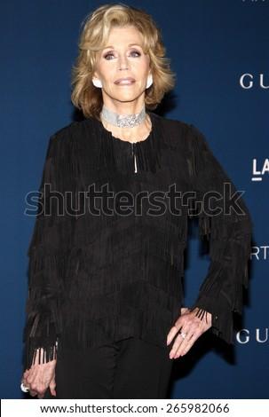 Jane Fonda at the LACMA 2013 Art + Film Gala Honoring Martin Scorsese And David Hockney held at the LACMA in Los Angeles on November 2, 2013 in Los Angeles, California. - stock photo
