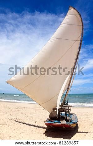 Jangada, typical sail boat of northeast Brazil - stock photo