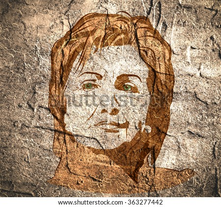 January 15, 2016: A illustration showing Democrat presidential candidate Hillary Clinton on concrete wall textured surface background done in hand draw style.  - stock photo