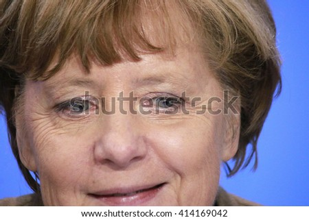 JANUARY 28, 2016 - BERLIN: German Chancelor Angela Merkel at a press conference in the federal Chanclery. - stock photo