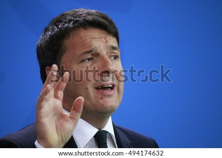 JANUARY 29, 2016 - BERLIN: Italian Prime Minister Matteo Renzi at a press conference after a meeting with the German Chancellor in the Federal Chanclery.