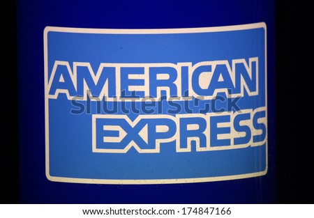 "JANUARY 2014 - BERLIN: the logo of the brand ""American Express"", Berlin."