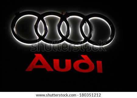 "JANUARY 28, 2014 - BERLIN: the logo of the brand ""Audi"", Berlin."