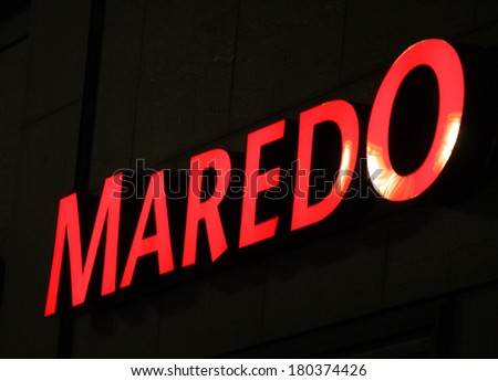 "JANUARY 28, 2014 - BERLIN: the logo of the brand ""Maredo"", Berlin."