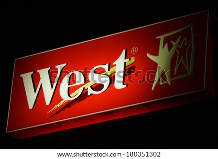 "JANUARY 28, 2014 - BERLIN: the logo of the brand ""West"", Berlin."