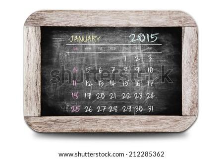 January 2015 - Calendar on chalk board - stock photo