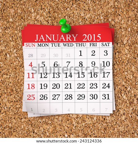 January 2015  Calendar on cork board , 3d render - stock photo