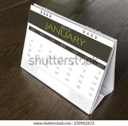 January Calendar  2015 on wood table - stock photo