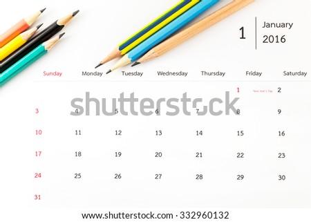 January calendar 2016 with pencils - stock photo