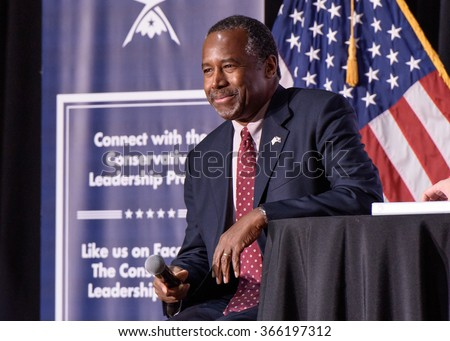 January 18, 2016 - Columbia S.C: Presidential candidate Ben Carson speaking  at the Conservative Leadership Project Presidential Forum hosted by Attorney General Alan Wilson(SC).