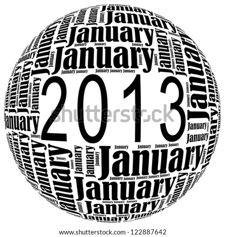 January 2013 info-text graphics arrangement on white background - stock photo