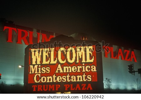 JANUARY 2005 - Neon sign in front of Trump Plaza in Atlantic City, NJ - stock photo