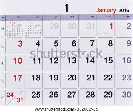 January 2016 plain photo calendar. Week starting from Sunday design over white background. - stock photo