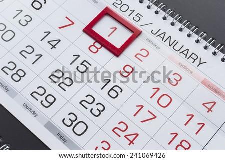 January 1st on a calendar as a background - stock photo
