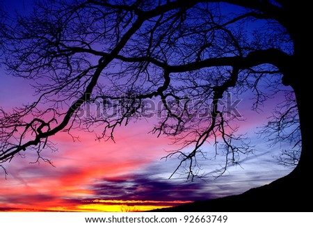 January sunrise under White Oak, Webster County, West Virginia, USA - stock photo