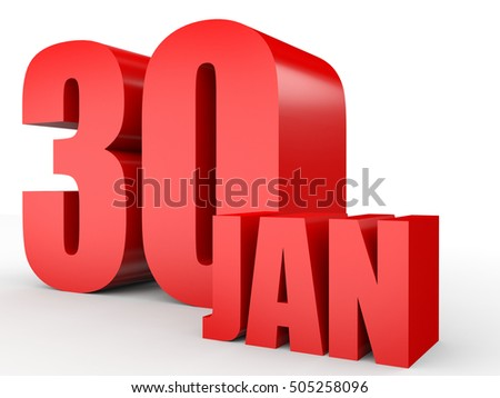 January 30. Text on white background. 3d illustration.