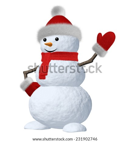January winter holiday decoration concept: cute snowman made of snow in red hat and red scarf with red mittens and carrot as a nose isolated on white background 3d illustration - stock photo