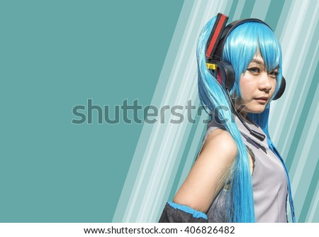 Japan anime cosplay . green cosplay set - stock photo