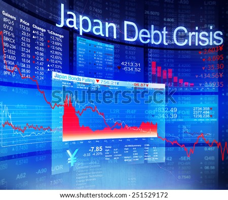 Japan Debt Crisis Economic Stock Market Banking Concept - stock photo