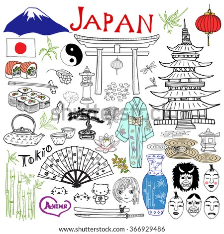 Japan doodles elements. Hand drawn set with Fujiyama mountain, Shinto gate, Japanese food sushi and tea set, fan, theater masks, katana, pagoda, kimono. Drawing doodle collection, isolated on white  - stock photo