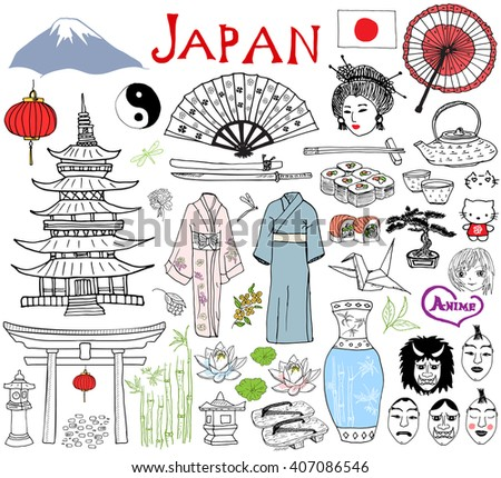 Japan doodles elements. Hand drawn sketch set with Fujiyama mountain, Shinto gate, Japanese food sushi and tea set, fan, theater masks, katana, pagoda, kimono. Drawing collection, isolated on white. - stock photo