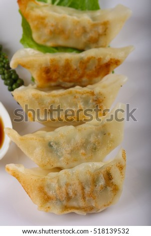 Japan dumplings - Gyoza with shrimp meat and vegetables