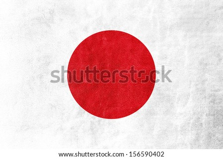 Japan Flag on leather texture or background - stock photo