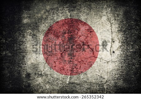 Japan flag pattern on dirty old concrete wall texture ,retro vintage style - stock photo