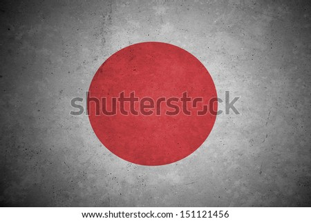 japan  flag pattern on the concrete wall. - stock photo