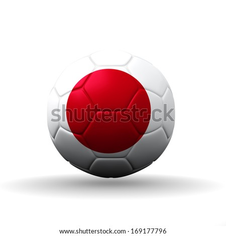 Japan flag textured on soccer ball , clipping path included