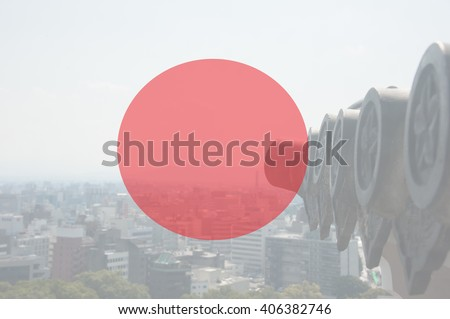 Japan flag with background from Kumamoto Castle view , Pray for japan. - stock photo
