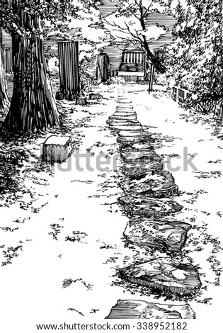 Japan Garden. Black and white dashed style sketch, line art, drawing with pen and ink. Retro vintage picture.