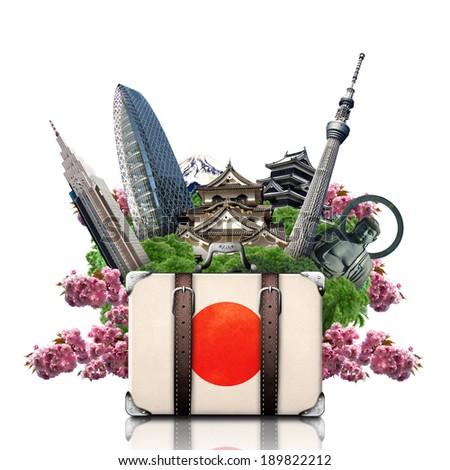 Japan, japan landmarks, travel and retro suitcase - stock photo