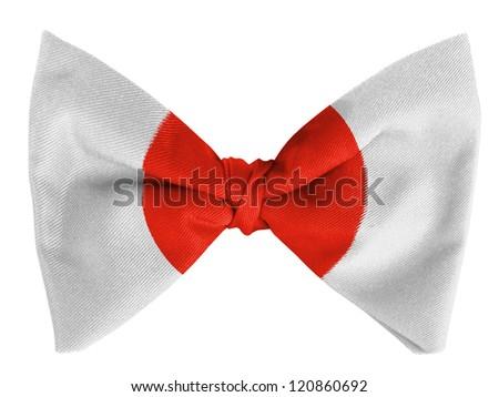Japan. Japanese flag  on a bow tie - stock photo