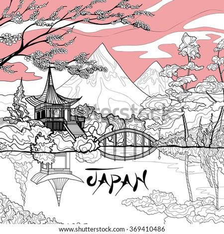 Japan Landscape Background - stock photo