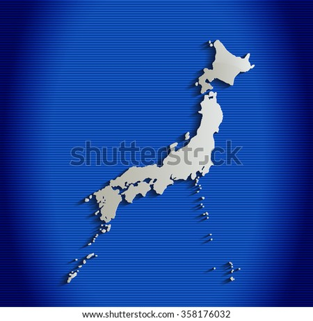 Japan map blue line 3D raster - stock photo