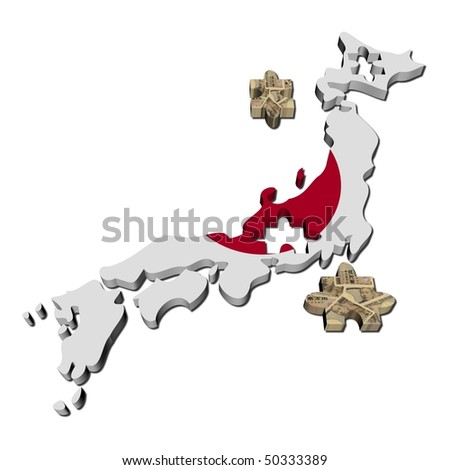 Japan Map flag jigsaw with Yen pieces illustration
