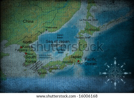 Japan map on vintage paper - stock photo