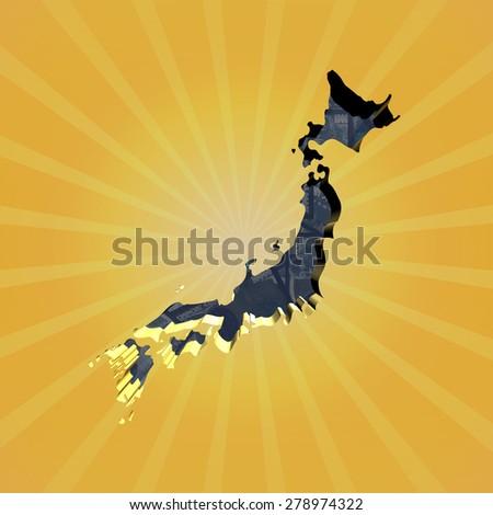 Japan map on Yen sunburst illustration - stock photo