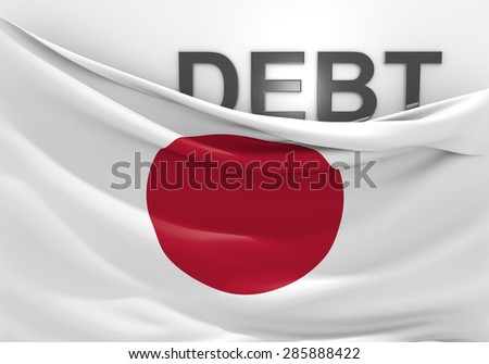 Japan national debt and budget deficit financial crisis - stock photo