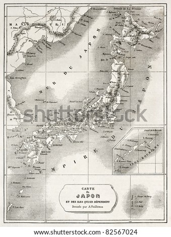 Japan old map. Created by Vuillemin and Erhard, published on Le Tour du Monde, Paris, 1860 - stock photo