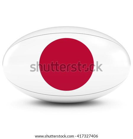 Japan Rugby - Japanese Flag on Rugby Ball on White - 3D Illustration - stock photo